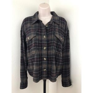 American Eagle Cropped Flannel Shirt